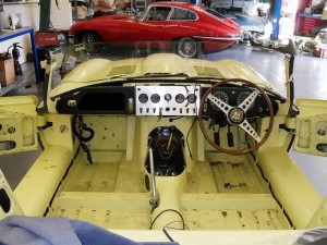 Jaguar E-type stripped down ready for complete retrim